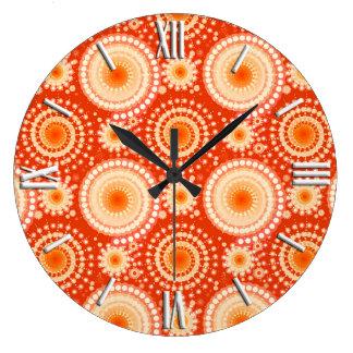 Starbursts and pinwheels, mandarin orange large clock