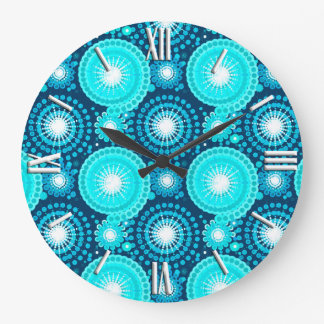 Starbursts and pinwheels, navy and turquoise large clock