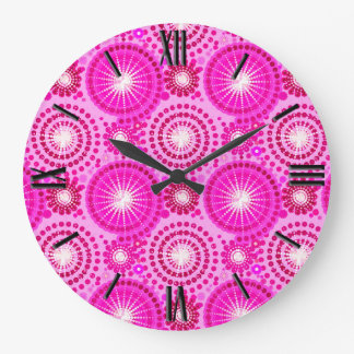 Starbursts and pinwheels, orchid and magenta large clock