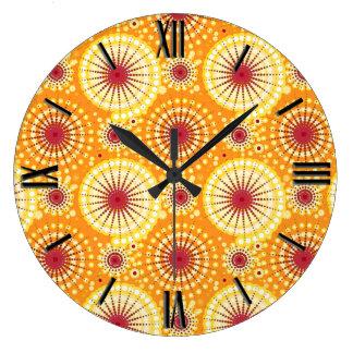 Starbursts and pinwheels, saffron and raisin large clock