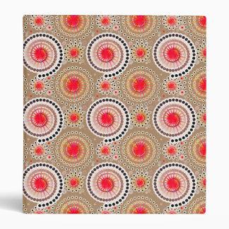Starbursts and pinwheels, taupe, red, white 3 ring binder