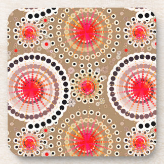 Starbursts and pinwheels, taupe, red, white drink coaster