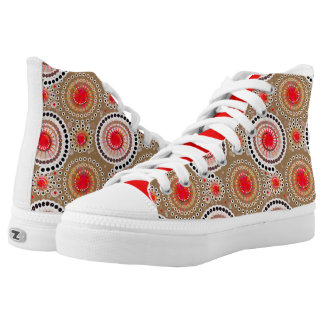 Starbursts and pinwheels, taupe, red, white High-Top sneakers
