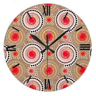 Starbursts and pinwheels, taupe, red, white large clock