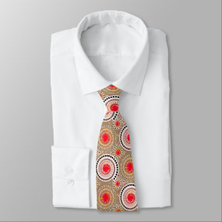 Starbursts and pinwheels, taupe, red, white neck tie