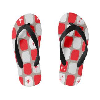 Starbursts rojo retro embroma flips-flopes chanclas para niños