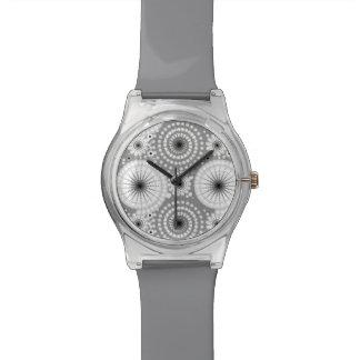 Starbursts y molinillos de viento, gris, blanco y relojes de pulsera