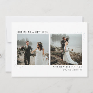 Stardust Newlyweds New Year Photo Card