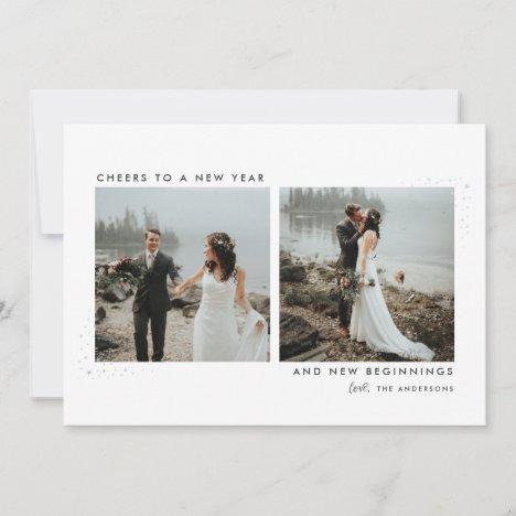 Stardust Newlyweds New Year Photo Card