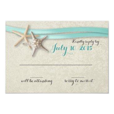 happygotimes Starfish and Aqua Ribbon Beach Response Card