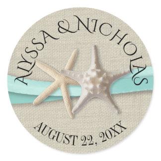 Starfish and Aqua Ribbon Classic Round Sticker