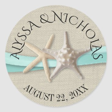 Beach Themed Starfish and Aqua Ribbon Classic Round Sticker