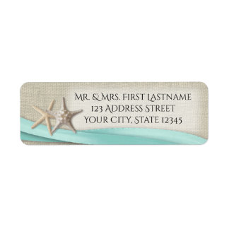 Starfish and Aqua Ribbon Label