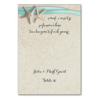 Starfish and Aqua Ribbon Place Card