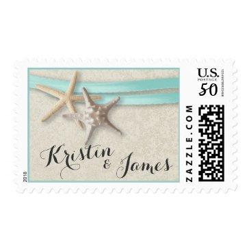 happygotimes Starfish and Aqua Ribbon Postage