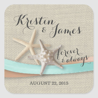 Starfish and Aqua Ribbon Square Sticker