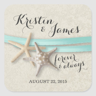 Starfish and Aqua Ribbon Square Sticker