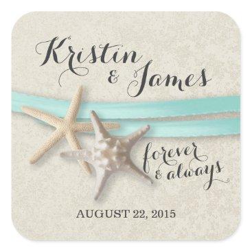 happygotimes Starfish and Aqua Ribbon Square Sticker