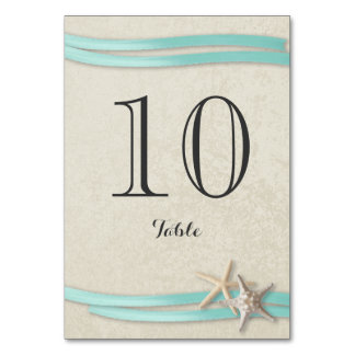 Starfish and Aqua Ribbon Table Number Card Table Cards