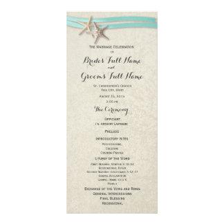 Starfish and Aqua Ribbon Wedding Program