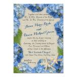 Starfish and Blue Hydrangea Wedding Custom Invitations