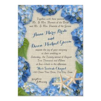 Starfish and Blue Hydrangea Wedding 5x7 Paper Invitation Card