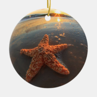 Starfish and Bubbles at Sunset Christmas Ornaments