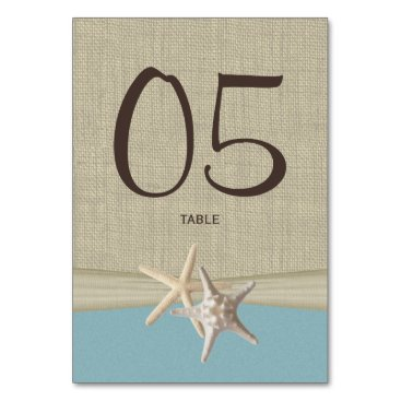 Beach Themed Starfish and Burlap Blue Table Number Card