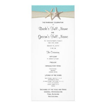 Beach Themed Starfish and Burlap Coral Beach Wedding Program