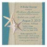 Starfish and Burlap Look Bridal Shower Custom Invitation