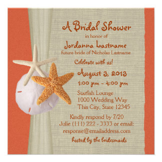 Starfish and Burlap Look Bridal Shower Custom Announcements