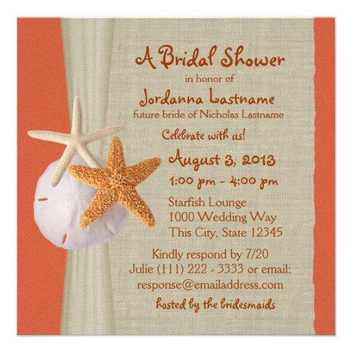 Starfish and Burlap Look Bridal Shower Custom Announcements