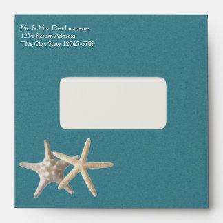 Starfish and Burlap Look Teal Envelope
