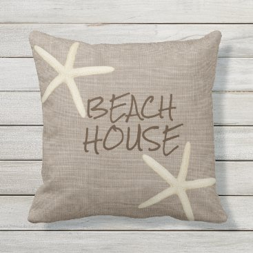Beach Themed Starfish and Burlap Outdoor Throw Pillow