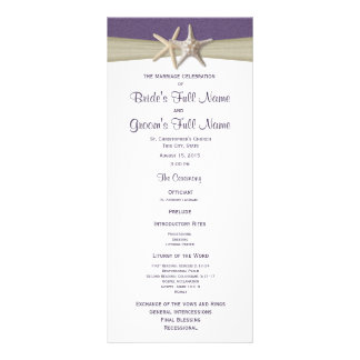 Starfish and Burlap Purple Beach Wedding Program