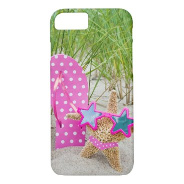 Beach Themed starfish and flip-flops in sand iPhone 7 case