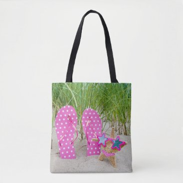Beach Themed starfish and flip-flops in sand tote bag