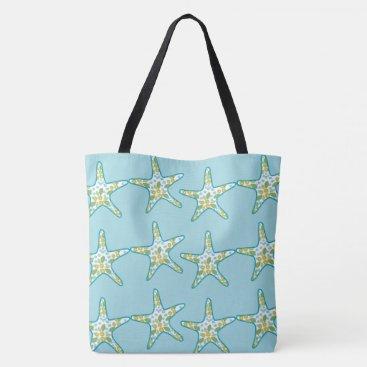 Beach Themed Starfish and floral pattern aqua summer beach tote bag