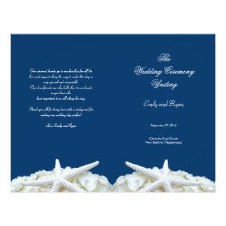 Starfish and Flowers Navy Wedding Program Template
