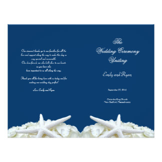 "Starfish and Flowers Navy Wedding Program Template 8.5"" X 11"" Flyer"
