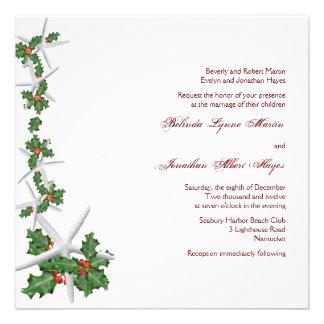 Starfish and Holly Christmas Wedding Invitations