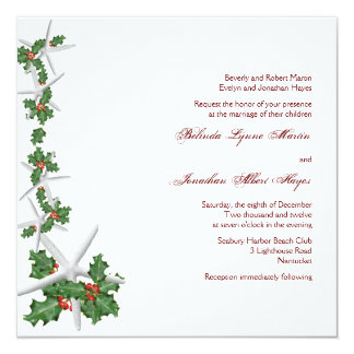 Starfish and Holly Christmas Wedding Invitations