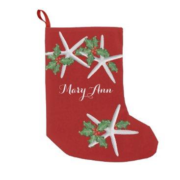 Christmas Themed Starfish and Holly Tropical Christmas Stocking
