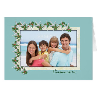 Starfish and Holly Tropical Photo Christmas Card