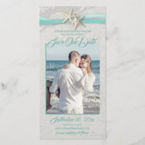 Starfish and Lace Aqua Gray Save the Date