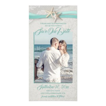 Beach Themed Starfish and Lace Aqua Gray Save the Date Card