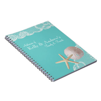 Starfish and Lace Beach Aqua Notebook