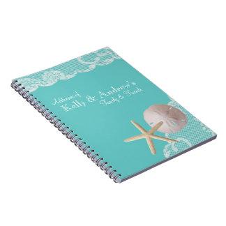 Starfish and Lace Beach Aqua Spiral Notebook