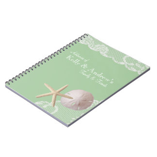 Starfish and Lace Beach Green Spiral Notebook