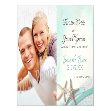 Beach Themed Starfish and Lace Beach Starfish Save the Date Magnetic Card